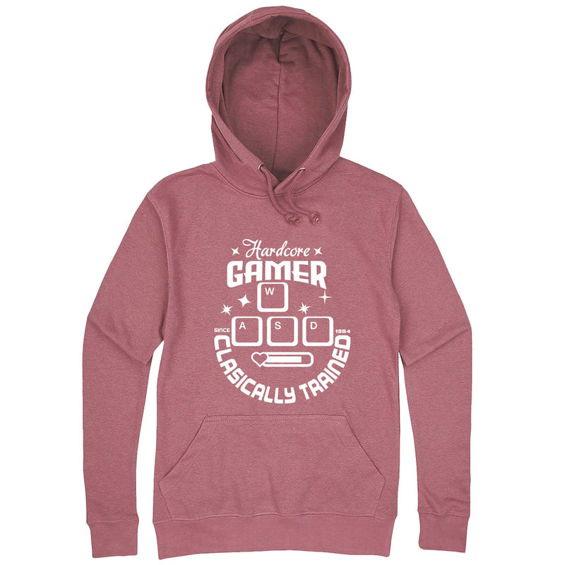 """Hardcore Gamer, Classically Trained"" hoodie, 3XL, Mauve"