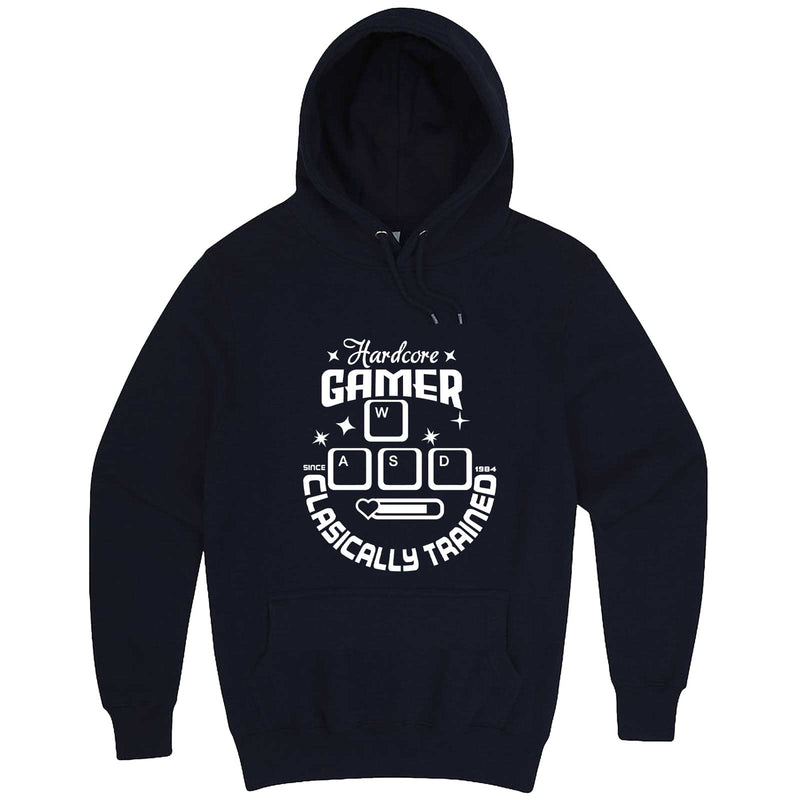 """Hardcore Gamer, Classically Trained"" hoodie, 3XL, Navy"