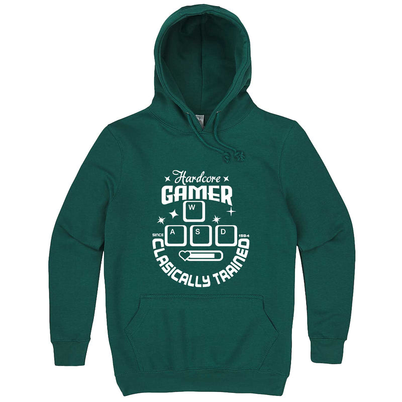 """Hardcore Gamer, Classically Trained"" hoodie, 3XL, Teal"