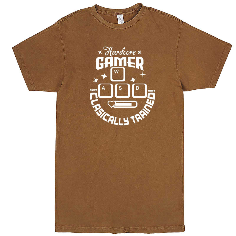 """Hardcore Gamer, Classically Trained"" men's t-shirt Vintage Camel"