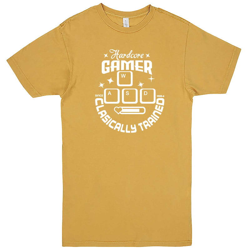 """Hardcore Gamer, Classically Trained"" men's t-shirt Vintage Mustard"