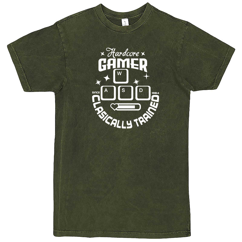 """Hardcore Gamer, Classically Trained"" men's t-shirt Vintage Olive"