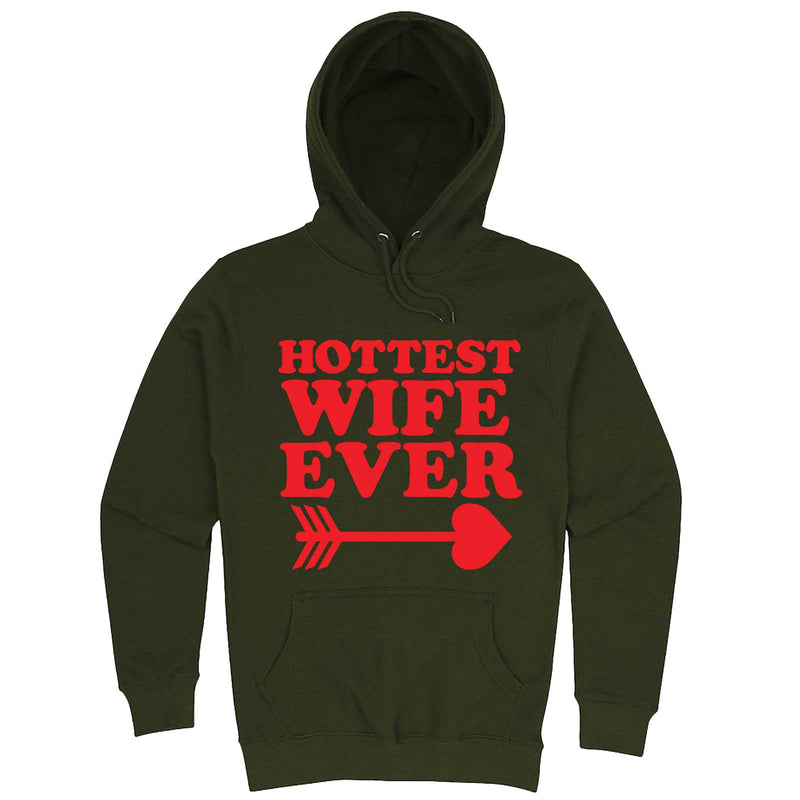 """Hottest Wife Ever, Red"" hoodie, 3XL, Army Green"
