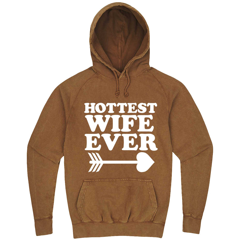 """Hottest Wife Ever, White"" hoodie, 3XL, Vintage Camel"