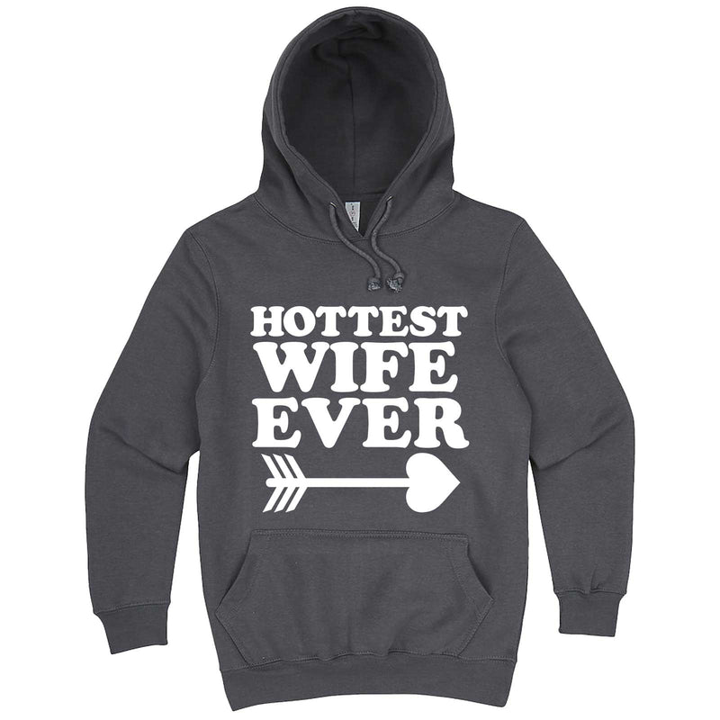 """Hottest Wife Ever, White"" hoodie, 3XL, Storm"