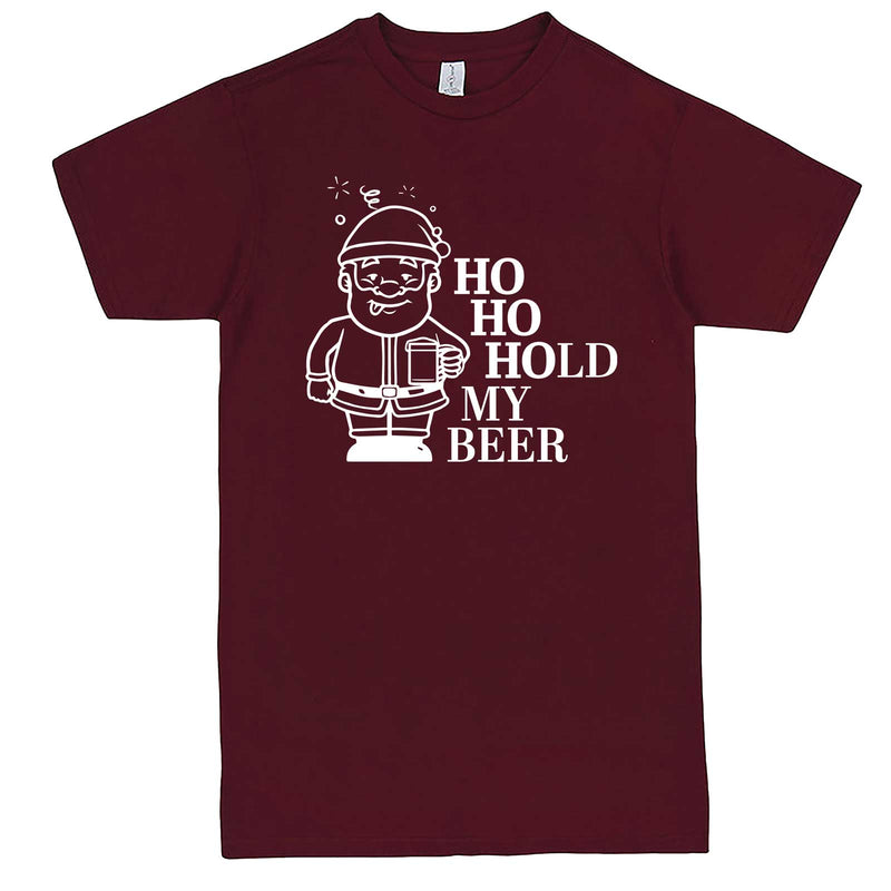 """Ho Ho Hold My Beer"" men's t-shirt Burgundy"