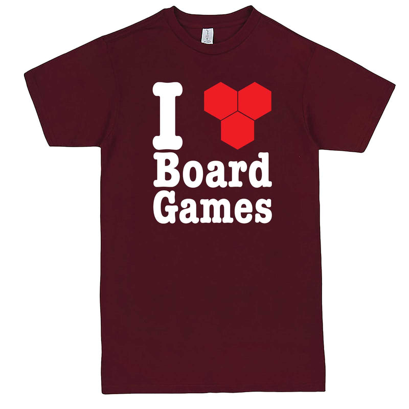 """I Love Board Games"" men's t-shirt Burgundy"