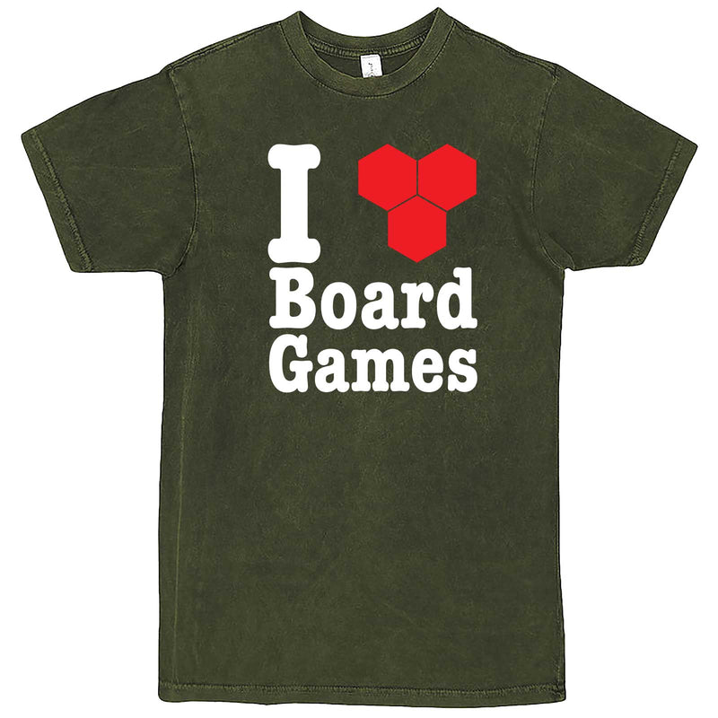 """I Love Board Games"" men's t-shirt Vintage Olive"