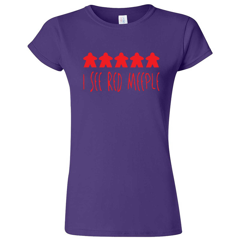 """I See Red Meeple"" women's t-shirt Purple"