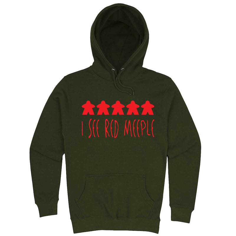 """I See Red Meeple"" hoodie, 3XL, Army Green"