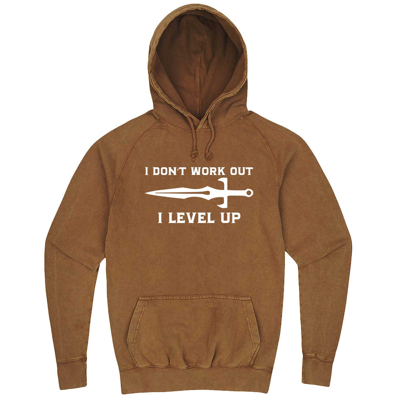 """I Don't Work Out, I Level Up - RPGs"" hoodie, 3XL, Vintage Camel"