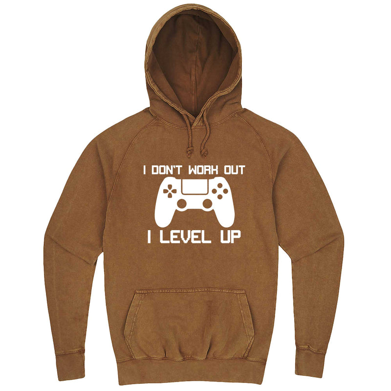"""I Don't Work Out, I Level Up - Video Games"" hoodie, 3XL, Vintage Camel"
