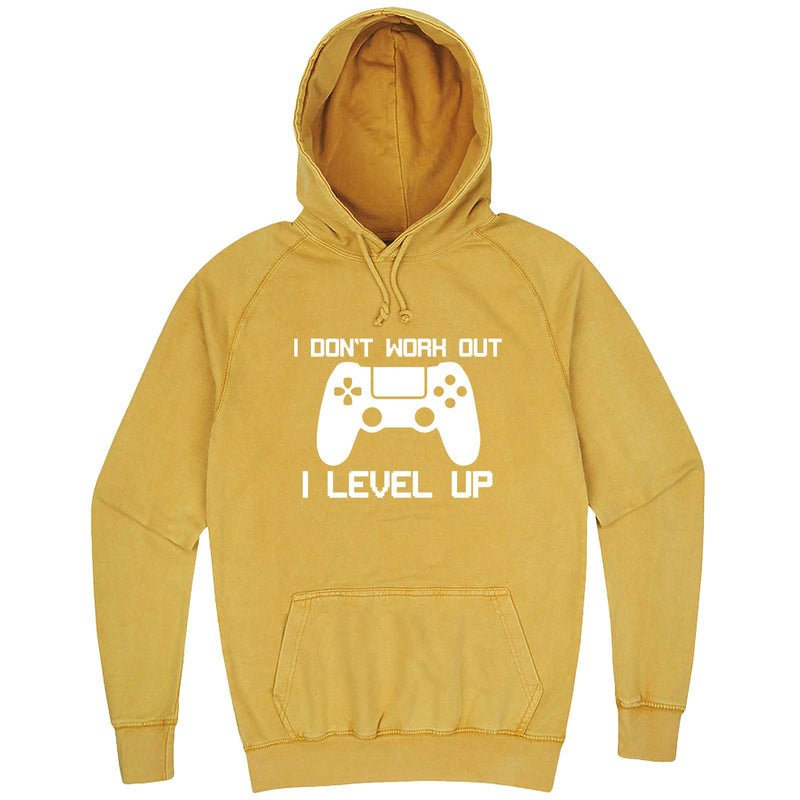 """I Don't Work Out, I Level Up - Video Games"" hoodie, 3XL, Vintage Mustard"