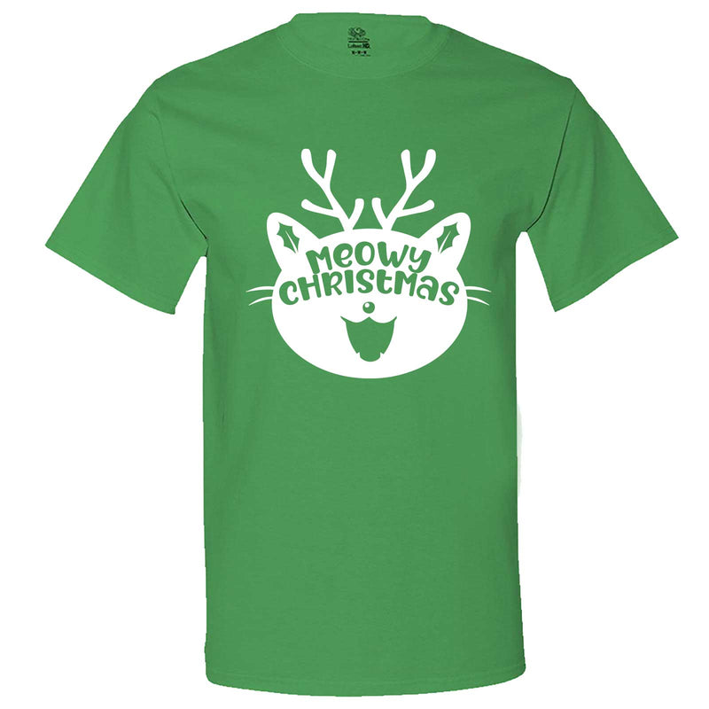 """Cute Meowy Christmas kitty"" men's t-shirt Irish-Green"