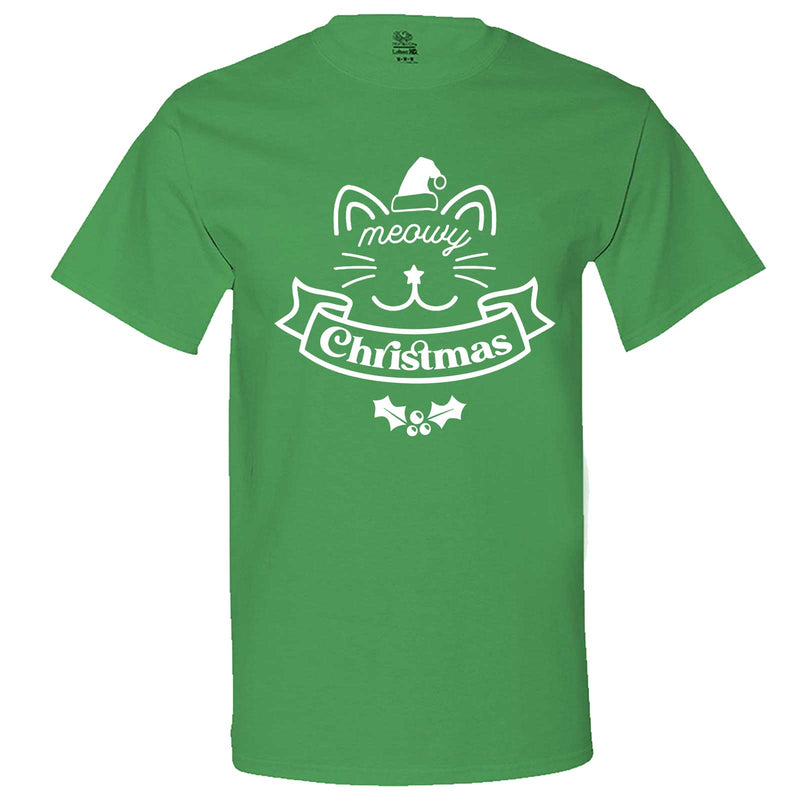 """Adorable Meowy Christmas kitty"" men's t-shirt Irish-Green"