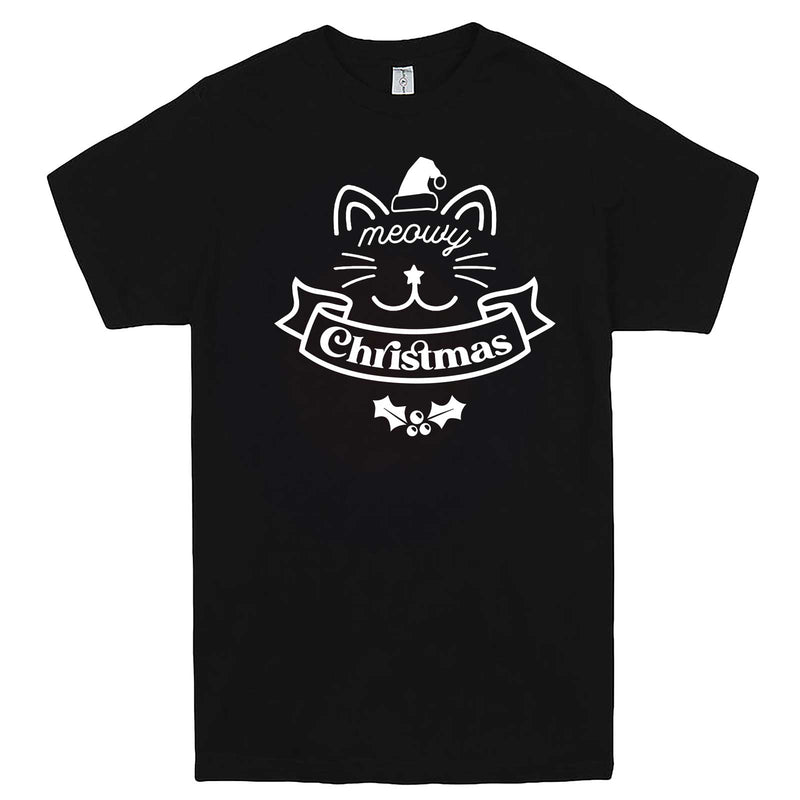 """Adorable Meowy Christmas kitty"" men's t-shirt Black"