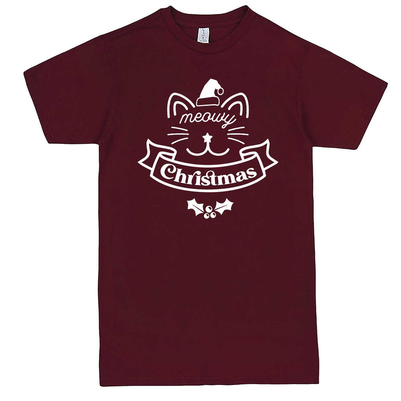 """Adorable Meowy Christmas kitty"" men's t-shirt Burgundy"