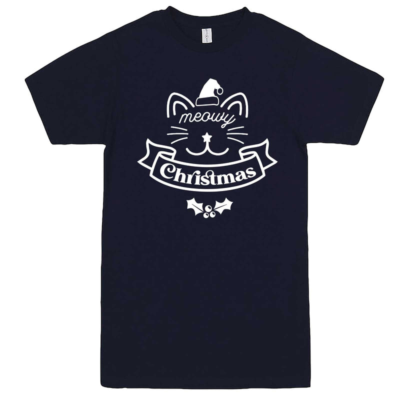 """Adorable Meowy Christmas kitty"" men's t-shirt Navy-Blue"
