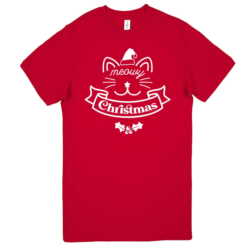 """Adorable Meowy Christmas kitty"" men's t-shirt Red"