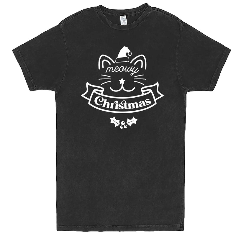 """Adorable Meowy Christmas kitty"" men's t-shirt Vintage Black"