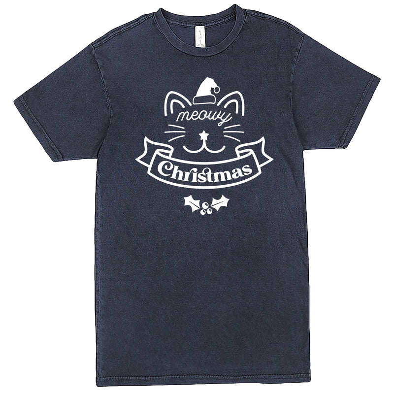 """Adorable Meowy Christmas kitty"" men's t-shirt Vintage Denim"