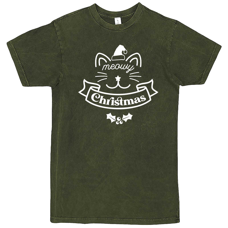 """Adorable Meowy Christmas kitty"" men's t-shirt Vintage Olive"