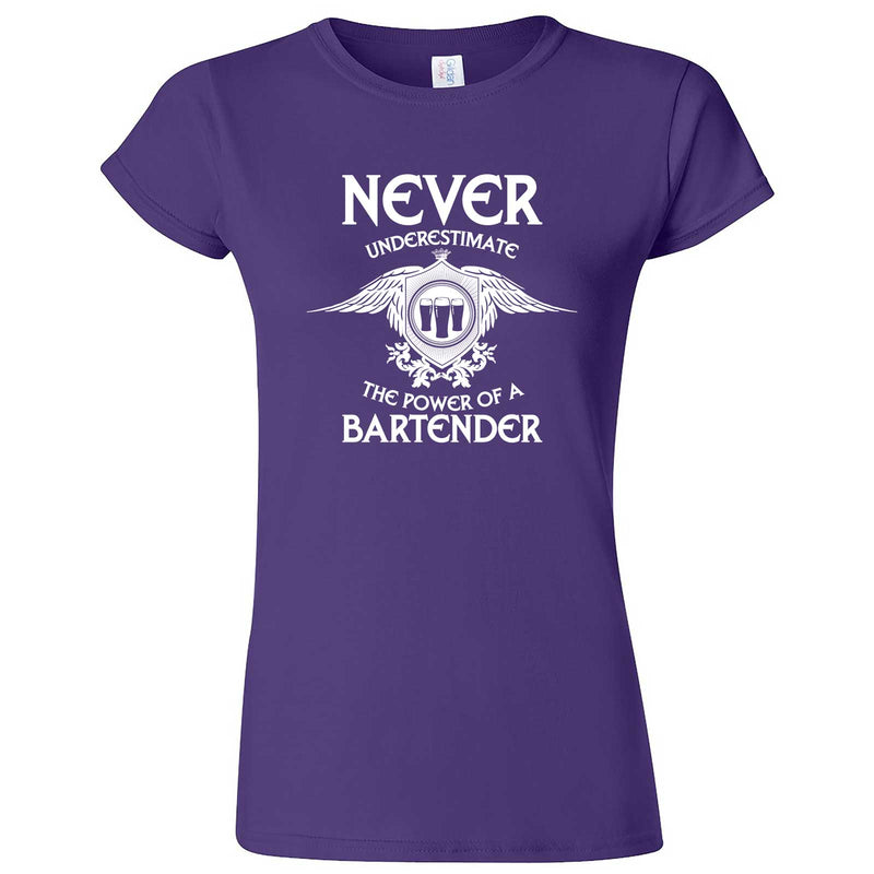 """Never Underestimate the Power of a Bartender"" women's t-shirt Purple"