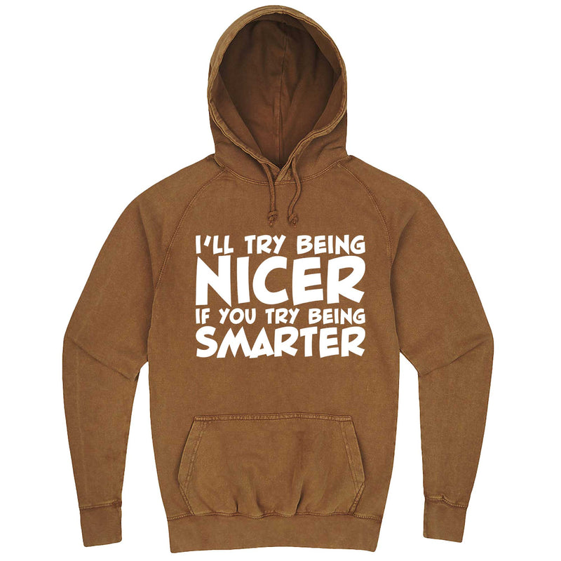 """I'll Try Being Nicer if You Try Being Smarter 1"" hoodie, 3XL, Vintage Camel"