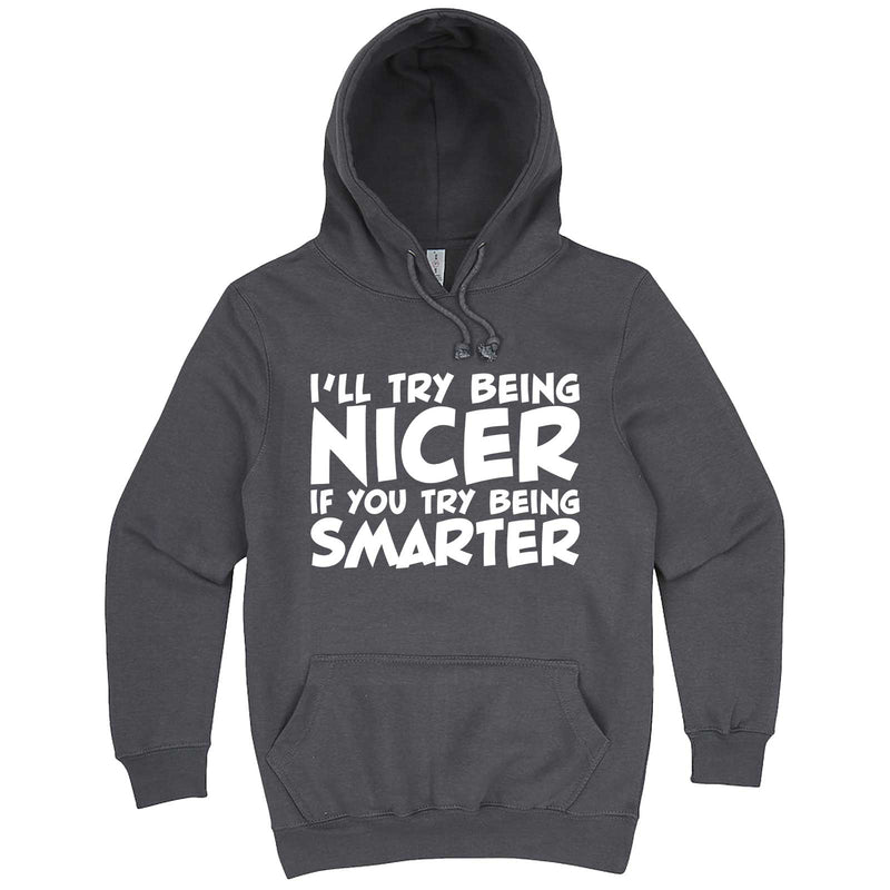 """I'll Try Being Nicer if You Try Being Smarter 1"" hoodie, 3XL, Storm"
