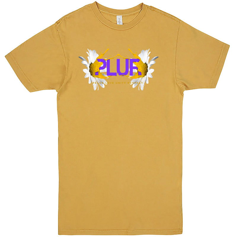 """PLUR - Peace, Love, Unity, Respect"" Men's Shirt Vintage Mustard"