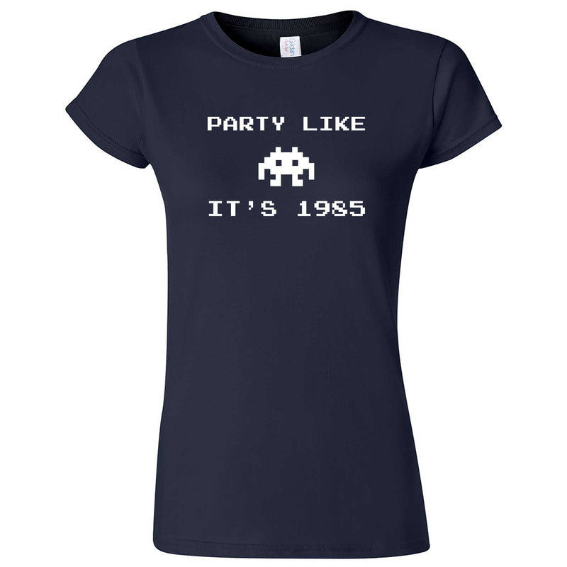 """Party Like It's 1985 - Space Alien"" women's t-shirt Navy Blue"