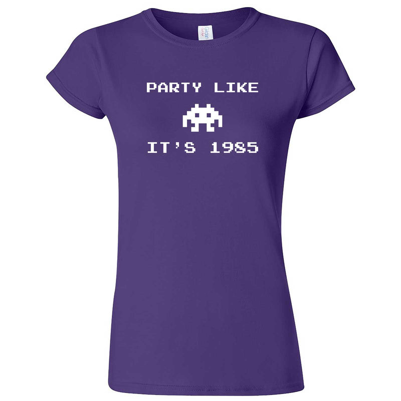"""Party Like It's 1985 - Space Alien"" women's t-shirt Purple"