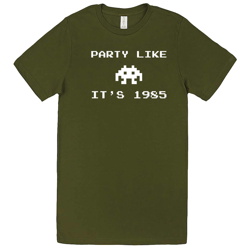 """Party Like It's 1985 - Space Alien"" men's t-shirt Army Green"