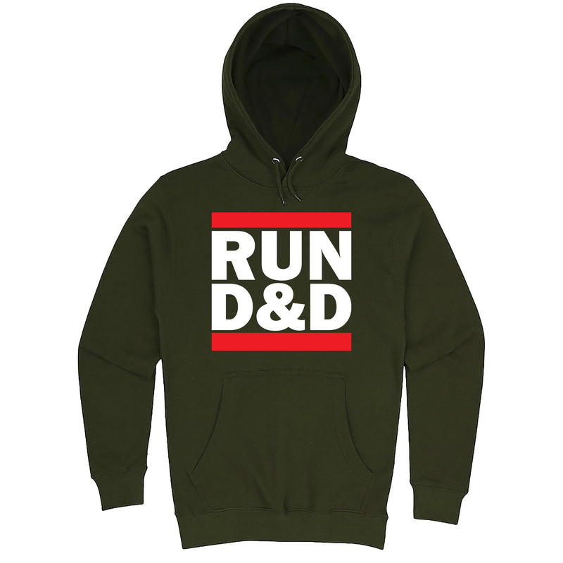 "Funny ""Run D&D"" hoodie 3XL Army Green"