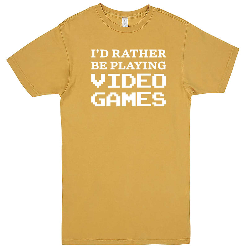 """I'd Rather Be Playing Video Games"" men's t-shirt Vintage Mustard"
