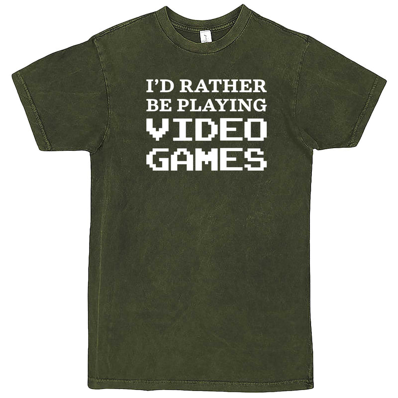 """I'd Rather Be Playing Video Games"" men's t-shirt Vintage Olive"