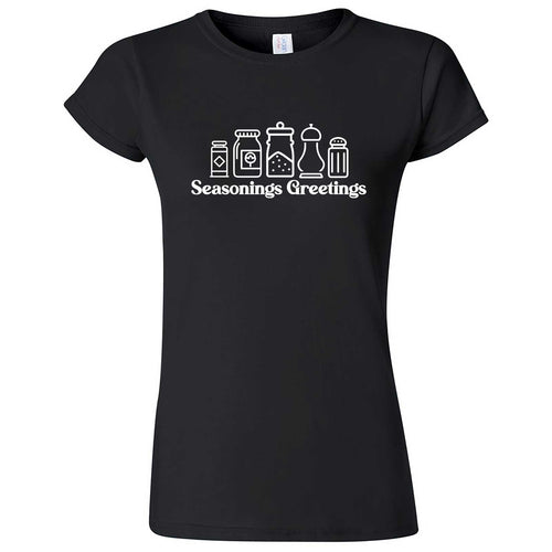 """Seasonings Greetings"" women's t-shirt Black"