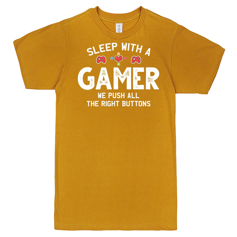 """Sleep With a Gamer, We Push All the Right Buttons"" Men's Shirt Mustard"