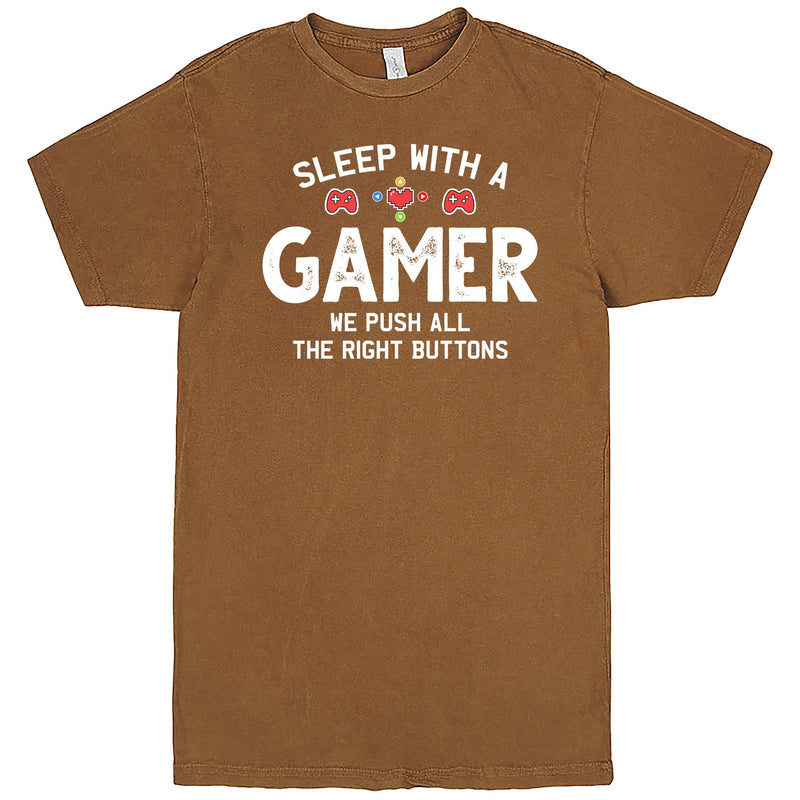 """Sleep With a Gamer, We Push All the Right Buttons"" Men's Shirt Vintage Camel"