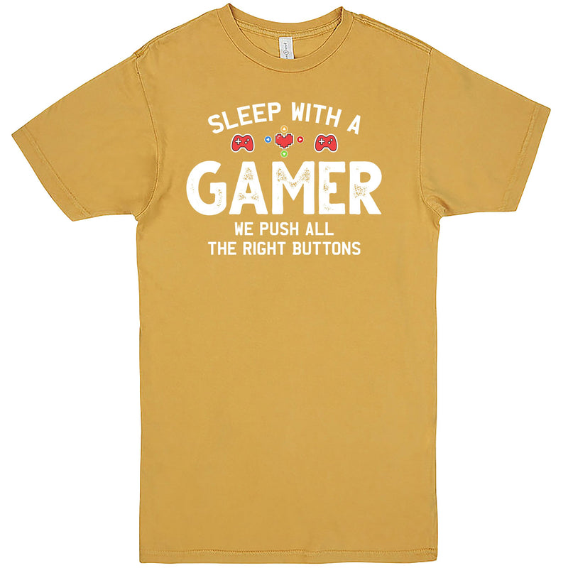 """Sleep With a Gamer, We Push All the Right Buttons"" Men's Shirt Vintage Mustard"