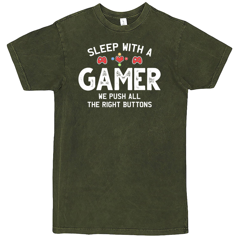 """Sleep With a Gamer, We Push All the Right Buttons"" Men's Shirt Vintage Olive"