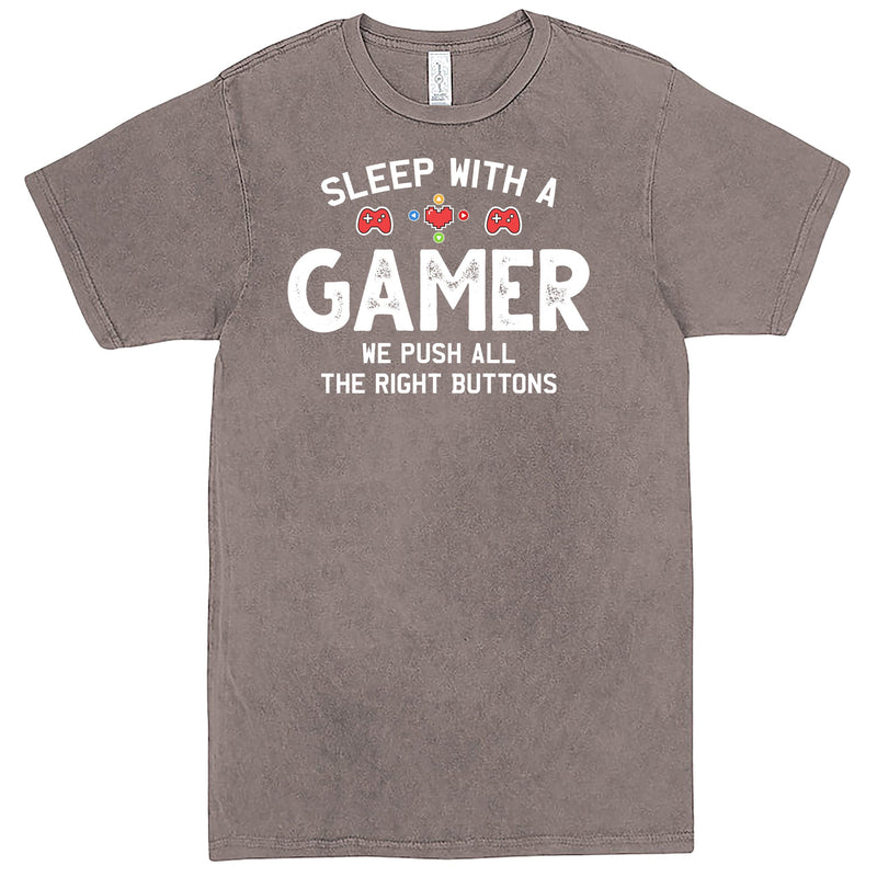 """Sleep With a Gamer, We Push All the Right Buttons"" Men's Shirt Vintage Zinc"