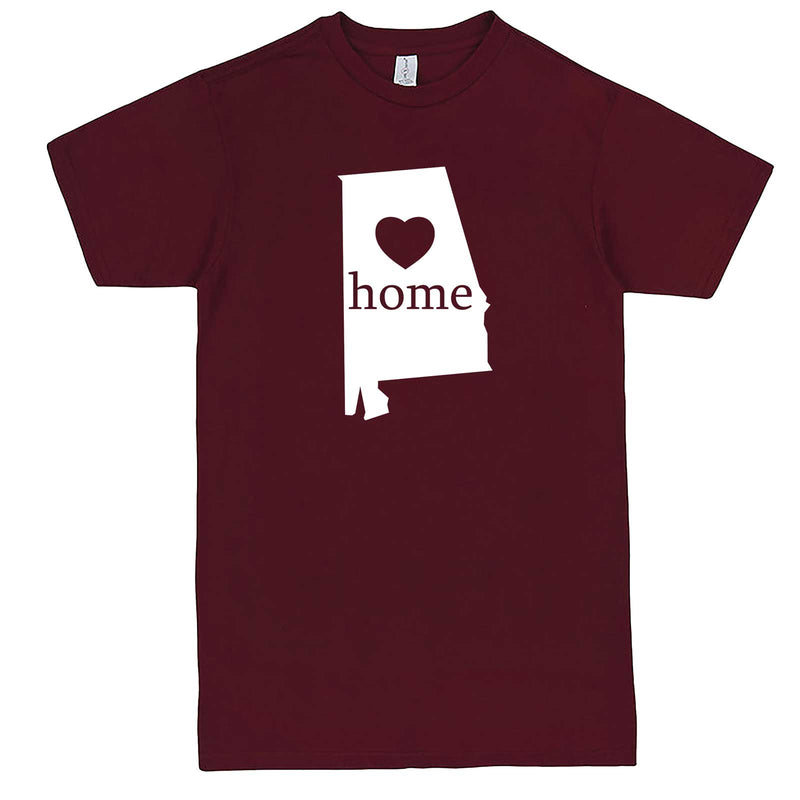 """Alabama Home State Pride"" men's t-shirt Burgundy"