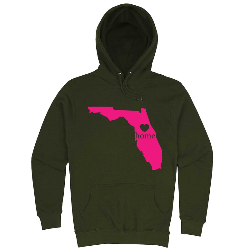 """Florida Home State Pride, Pink"" hoodie, 3XL, Army Green"