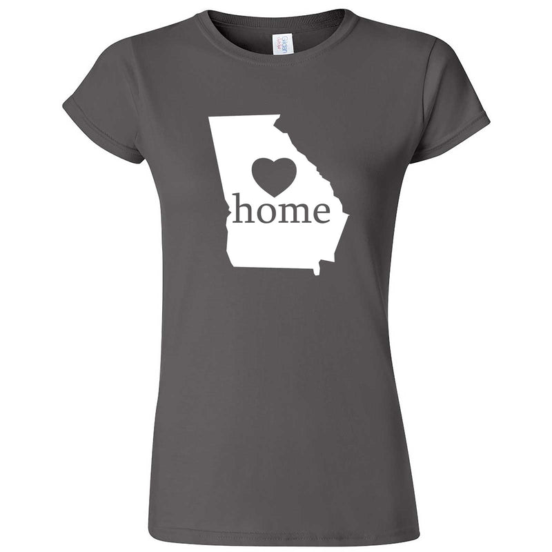 """Georgia Home State Pride, Pink"" women's t-shirt Charcoal"
