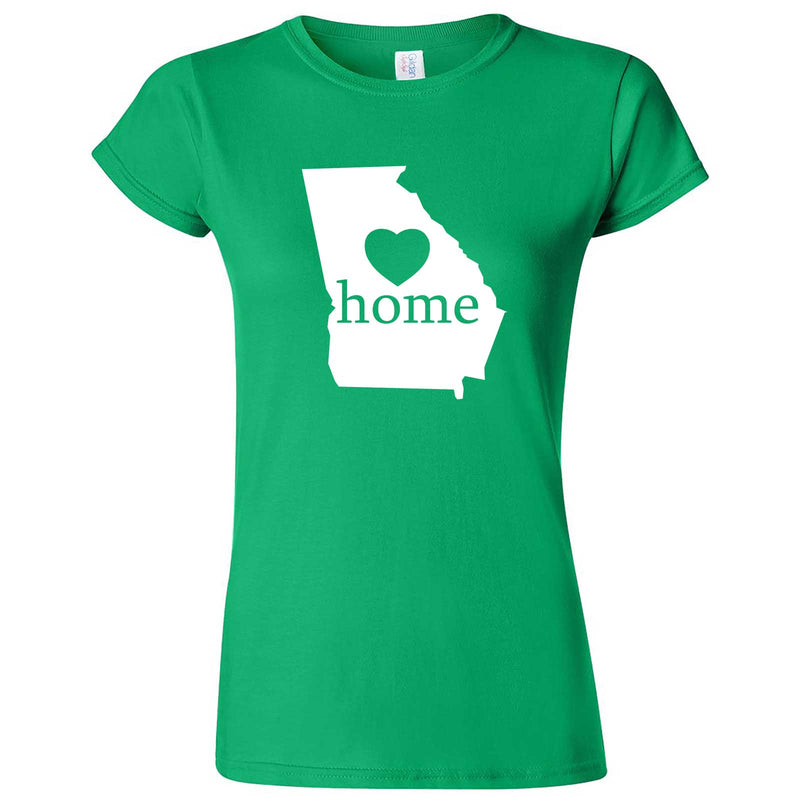 """Georgia Home State Pride, Pink"" women's t-shirt Irish Green"