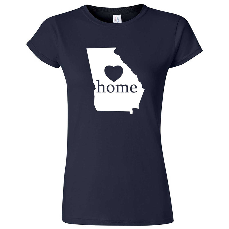 """Georgia Home State Pride, Pink"" women's t-shirt Navy Blue"