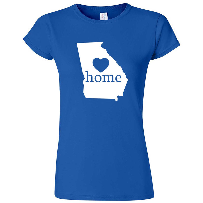 """Georgia Home State Pride, Pink"" women's t-shirt Royal Blue"