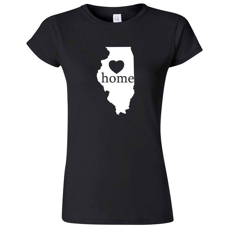"""Illinois Home State Pride, Pink"" women's t-shirt Black"