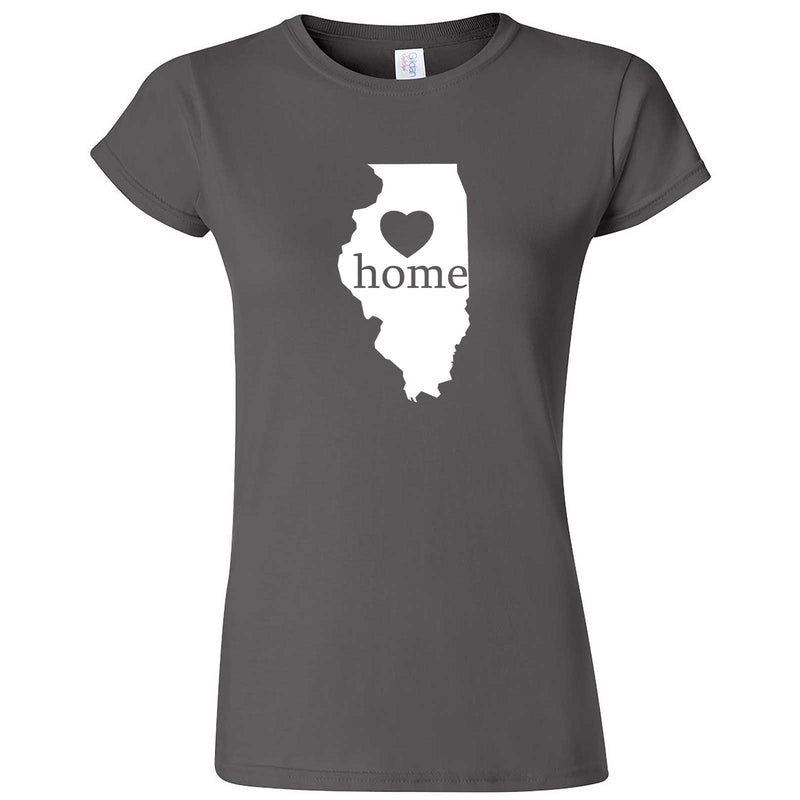 """Illinois Home State Pride, Pink"" women's t-shirt Charcoal"